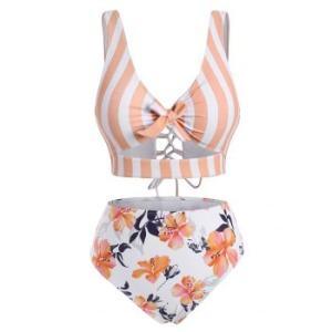 Striped Floral Cutout Lace-up Tankini Swimwear