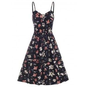 Flower Print Mock Button Pocket Smocked Back Dress