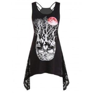 Tree Skull Moon Print Lace Insert Tank Top
