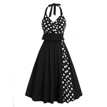 Halter Polka Dot Print Buckle Strap Vintage Dress