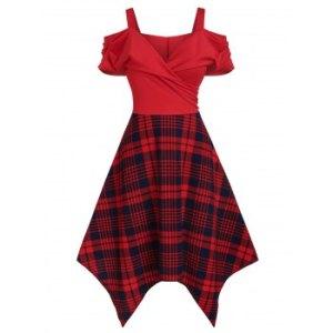Plaid Print Cold Shoulder Handkerchief Surplice Dress