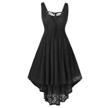 Plus Size High Low Lace Sleeveless Dress