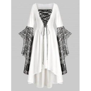 Plus Size Skull Lace Bell Sleeve Halloween Maxi Dress
