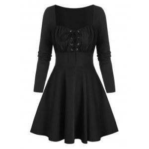 Retro Lace Up Square Neck A Line Dress