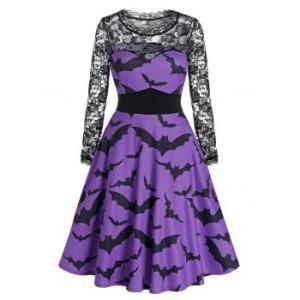 Halloween Bat Print Sheer Lace Panel High Waist Dress