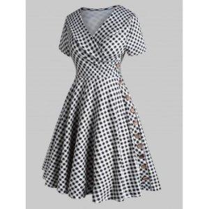 Plaid Ruched Buttoned Plus Size Vintage Dress