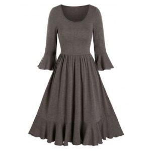 Flounce Poet Sleeve Pleated A Line Dress