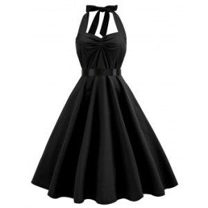 Halter Smocked Back Ruched 1950s Dress