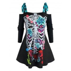 Plus Size Halloween Skeleton Tie Open Shoulder Tee