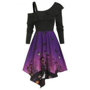 Halloween Night Bat Pattern High Waist Asymmetrical Dress