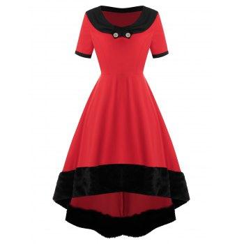 Plus Size Faux Fur High Low Midi Party Dress
