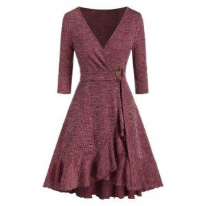 Deep V Neck Knitted Flounce Hem Wrap Dress