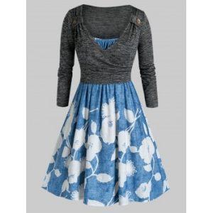 Plus Size Flower Cami Dress and Surplice T-shirt Set