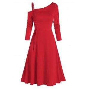 Cinched Skew Collar Asymmetric Dress