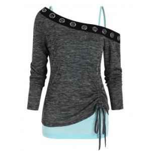 Open Shoulder Grommet Trim Drawstring Two Piece T Shirt Sets