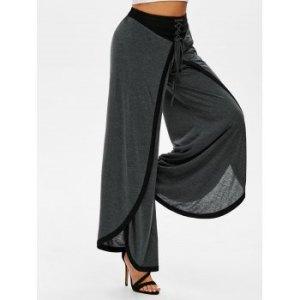 Overlap Front Lace-up Contrast Wide Leg Pants
