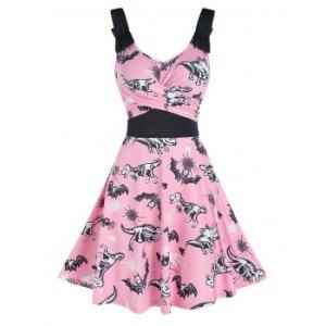 Halloween Animal Skeleton Print Sleeveless Crossover Dress