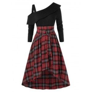 Plus Size Skew Neck Ruffled High Low Plaid Dress