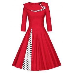 Polka Dot Mock Button Midi Dress