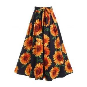 Sunflower Print Belted Maxi Skirt