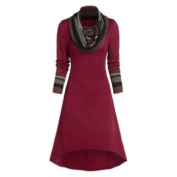 Fair Isle Pattern Convertible High Low Dress