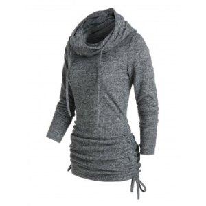 Cowl Neck Cinched Hem Knitted Drawstring Sweatshirt