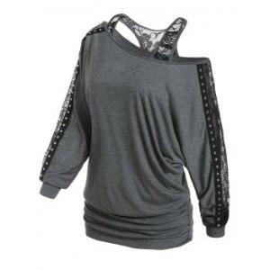 Open Shoulder Studded Trim Lace Insert Blouson T Shirt