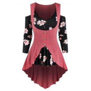 Floral Print Open Shoulder High Low Two Piece T Shirt Sets