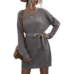 Heathered Belt Sweater Dress