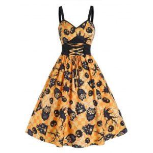 Halloween Pumpkin Plaid Print Tie Waist Cami Dress