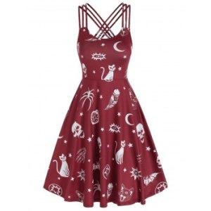 Skull Animal Print Cami Gothic A Line Dress