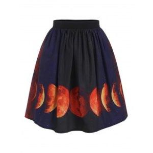 Halloween Lunar Eclipse Print A Line Skirt