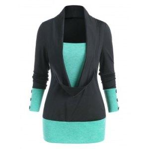 Cowl Front Bicolor Button Long Sleeve T Shirt