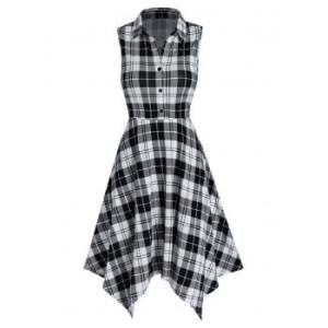 Checkered Print Handkerchief Shirt Dress
