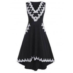 Contrast Lace Panel High Waist Sleeveless High Low Dress