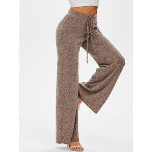 Drawstring Ribbed Marled Wide Leg Pants