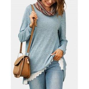 Cowl Neck Lace Hem Tunic Knitwear