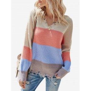 Colorblock V Neck Distressed Sweater
