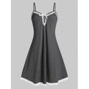 Plus Size Lace Insert Sleepwear Dress