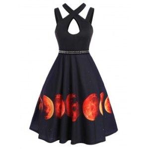 Halloween Moon Print Rivet Keyhole Sleeveless Dress