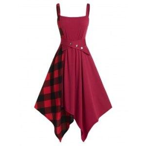 Plus Size Plaid Hanky Hem Belted Waisted Dress