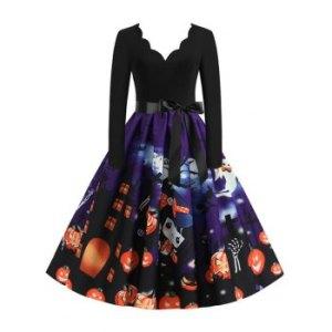 Long Sleeve Scalloped Collar Pumpkin Halloween Dress