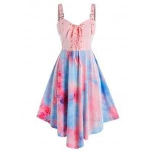 Plus Size Tie Dye Eyelet Buckle Lace-up Dress