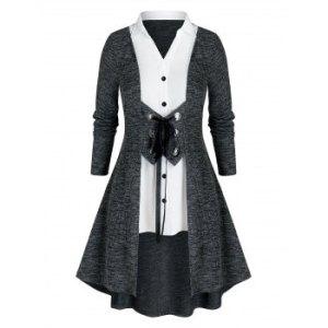 Plus Size Twofer Grommet Lace-up Knit Cardigan