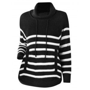 Plus Size Turtleneck Striped Raglan Sleeve Sweater