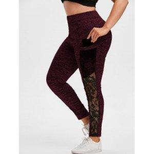 Plus Size Lace Insert Pockets Space Dye Leggings