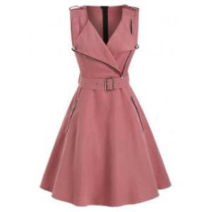 Sleeveless Half Zip Belted Dress