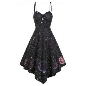 High Waist Starry Print Asymmetric Cami Dress