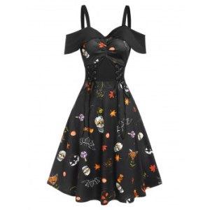 Halloween Pumpkin Animal Print Lace Up Ruched Midi A Line Dress