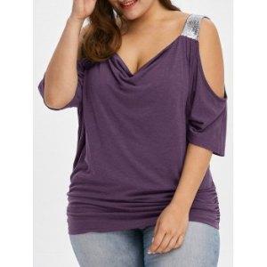 Plus Size Cold Shoulder Sequined Trim T-Shirt